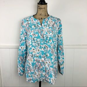 NY Collection Blue White Floral Button Blouse Top